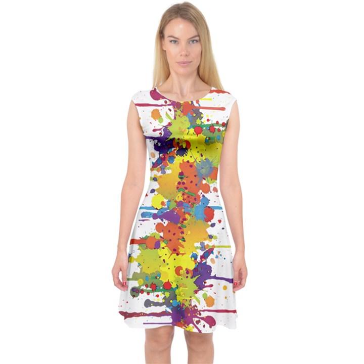 Crazy Multicolored Double Running Splashes Capsleeve Midi Dress