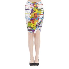 Crazy Multicolored Double Running Splashes Midi Wrap Pencil Skirt