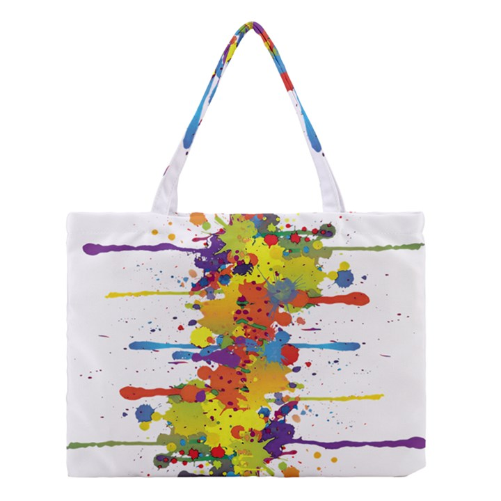 Crazy Multicolored Double Running Splashes Medium Tote Bag