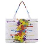 Crazy Multicolored Double Running Splashes Medium Zipper Tote Bag