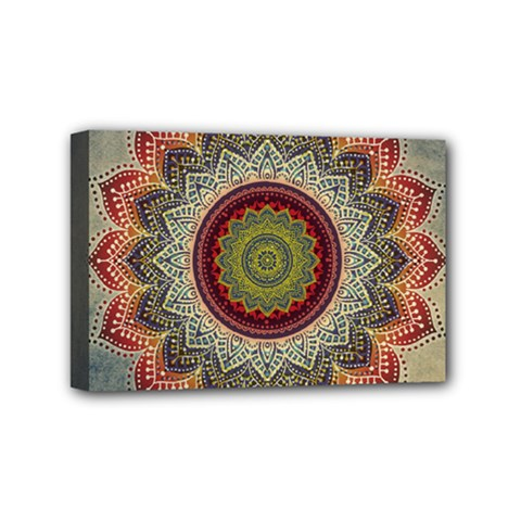 Folk Art Lotus Mandala Dirty Blue Red Mini Canvas 6  X 4  by EDDArt