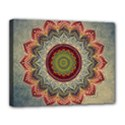 Folk Art Lotus Mandala Dirty Blue Red Canvas 14  x 11  View1