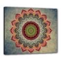 Folk Art Lotus Mandala Dirty Blue Red Canvas 24  x 20  View1