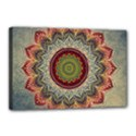 Folk Art Lotus Mandala Dirty Blue Red Canvas 18  x 12  View1
