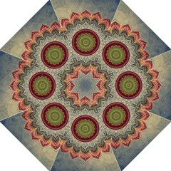 Folk Art Lotus Mandala Dirty Blue Red Straight Umbrellas