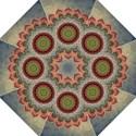 Folk Art Lotus Mandala Dirty Blue Red Straight Umbrellas View1