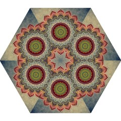 Folk Art Lotus Mandala Dirty Blue Red Mini Folding Umbrellas