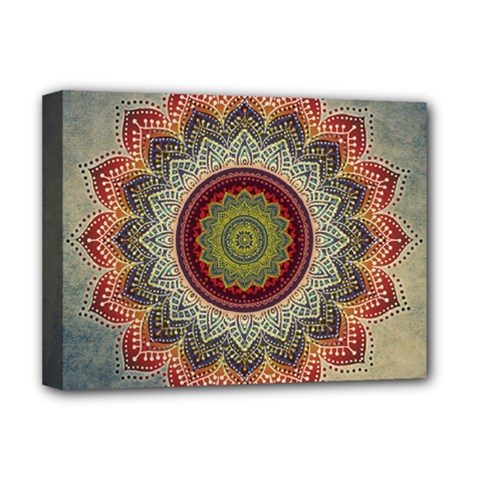 Folk Art Lotus Mandala Dirty Blue Red Deluxe Canvas 16  X 12   by EDDArt