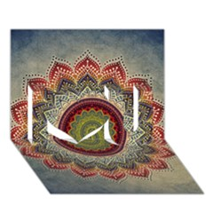 Folk Art Lotus Mandala Dirty Blue Red I Love You 3d Greeting Card (7x5)