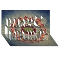Folk Art Lotus Mandala Dirty Blue Red Happy Birthday 3d Greeting Card (8x4) by EDDArt