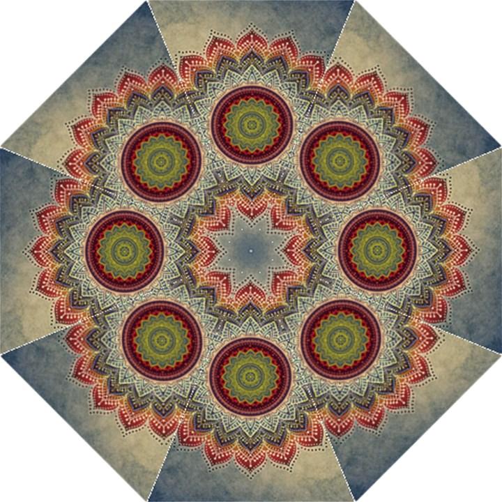 Folk Art Lotus Mandala Dirty Blue Red Golf Umbrellas