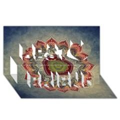 Folk Art Lotus Mandala Dirty Blue Red Best Friends 3d Greeting Card (8x4) by EDDArt