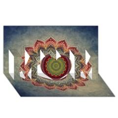 Folk Art Lotus Mandala Dirty Blue Red Mom 3d Greeting Card (8x4) by EDDArt