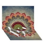 Folk Art Lotus Mandala Dirty Blue Red LOVE Bottom 3D Greeting Card (7x5)