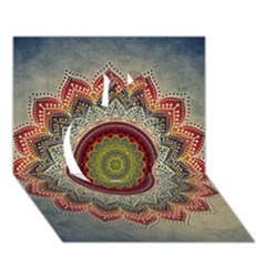 Folk Art Lotus Mandala Dirty Blue Red Apple 3d Greeting Card (7x5) by EDDArt