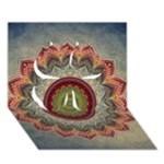 Folk Art Lotus Mandala Dirty Blue Red Clover 3D Greeting Card (7x5)