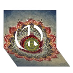 Folk Art Lotus Mandala Dirty Blue Red Peace Sign 3d Greeting Card (7x5) by EDDArt