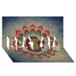 Folk Art Lotus Mandala Dirty Blue Red BEST SIS 3D Greeting Card (8x4)