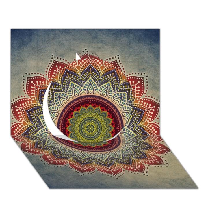 Folk Art Lotus Mandala Dirty Blue Red Circle 3D Greeting Card (7x5)