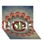 Folk Art Lotus Mandala Dirty Blue Red HOPE 3D Greeting Card (7x5)