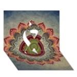 Folk Art Lotus Mandala Dirty Blue Red Ribbon 3D Greeting Card (7x5)
