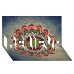 Folk Art Lotus Mandala Dirty Blue Red Believe 3d Greeting Card (8x4) by EDDArt