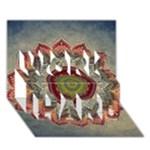 Folk Art Lotus Mandala Dirty Blue Red WORK HARD 3D Greeting Card (7x5)