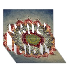 Folk Art Lotus Mandala Dirty Blue Red You Did It 3d Greeting Card (7x5) by EDDArt