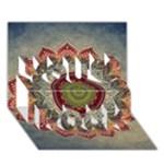 Folk Art Lotus Mandala Dirty Blue Red You Rock 3D Greeting Card (7x5)