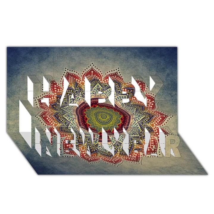 Folk Art Lotus Mandala Dirty Blue Red Happy New Year 3D Greeting Card (8x4)