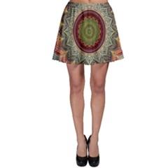Folk Art Lotus Mandala Dirty Blue Red Skater Skirt