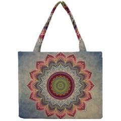 Folk Art Lotus Mandala Dirty Blue Red Mini Tote Bag by EDDArt
