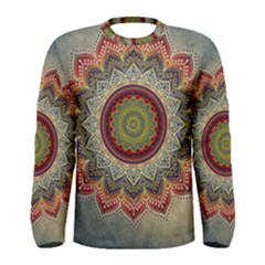 Folk Art Lotus Mandala Dirty Blue Red Men s Long Sleeve Tee