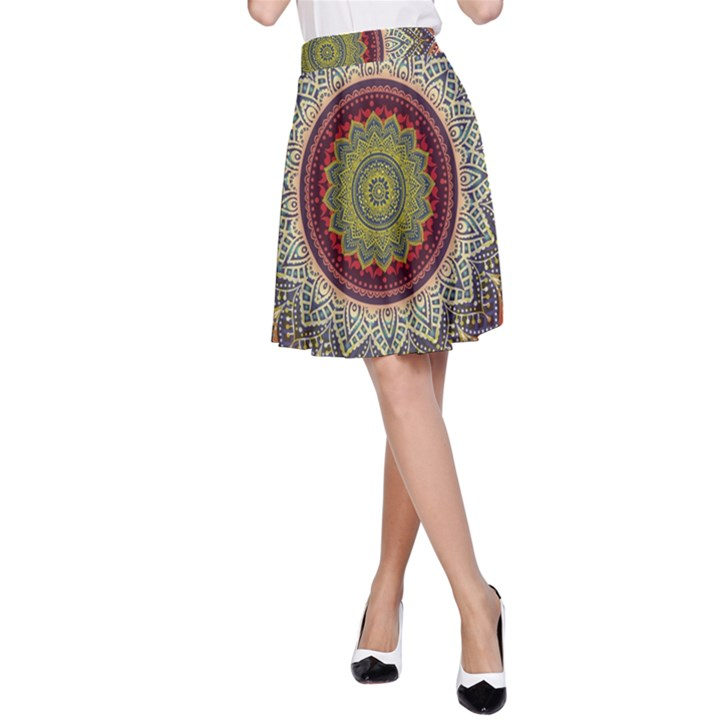 Folk Art Lotus Mandala Dirty Blue Red A-Line Skirt