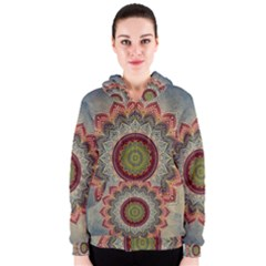 Folk Art Lotus Mandala Dirty Blue Red Women s Zipper Hoodie