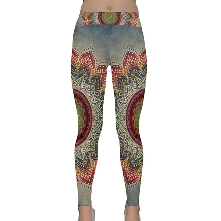 Folk Art Lotus Mandala Dirty Blue Red Yoga Leggings