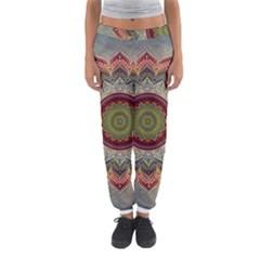 Folk Art Lotus Mandala Dirty Blue Red Women s Jogger Sweatpants