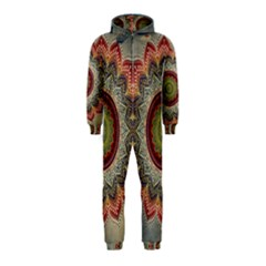 Folk Art Lotus Mandala Dirty Blue Red Hooded Jumpsuit (kids)