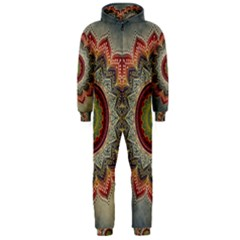 Folk Art Lotus Mandala Dirty Blue Red Hooded Jumpsuit (men)