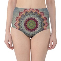 Folk Art Lotus Mandala Dirty Blue Red High Waist Bikini Bottoms
