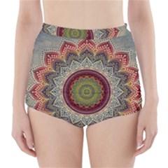 Folk Art Lotus Mandala Dirty Blue Red High Waisted Bikini Bottoms by EDDArt
