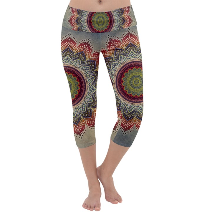 Folk Art Lotus Mandala Dirty Blue Red Capri Yoga Leggings