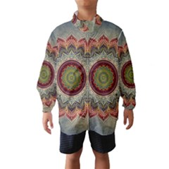 Folk Art Lotus Mandala Dirty Blue Red Wind Breaker (kids) by EDDArt