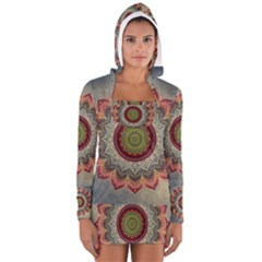 Folk Art Lotus Mandala Dirty Blue Red Women s Long Sleeve Hooded T Shirt by EDDArt