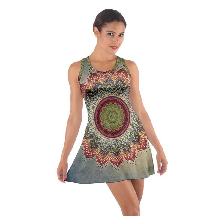 Folk Art Lotus Mandala Dirty Blue Red Cotton Racerback Dress