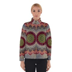 Folk Art Lotus Mandala Dirty Blue Red Winterwear by EDDArt