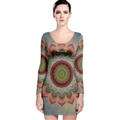 Folk Art Lotus Mandala Dirty Blue Red Long Sleeve Velvet Bodycon Dress