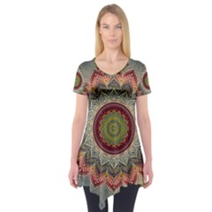 Folk Art Lotus Mandala Dirty Blue Red Short Sleeve Tunic