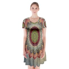Folk Art Lotus Mandala Dirty Blue Red Short Sleeve V Neck Flare Dress