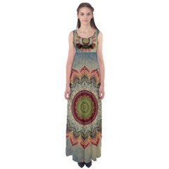 Folk Art Lotus Mandala Dirty Blue Red Empire Waist Maxi Dress